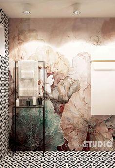Wallpaper mural from Wall&decò - Color Photo Mural Art, Wall Murals, Interior Architecture, Interior And Exterior, Wc Decoration, Bad Wand, Estilo Interior, Tadelakt, Bathroom Photos