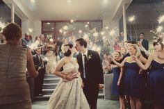 It looks so much like a fairy tell ending… | Community Post: 14 Ideas For Your Summertime Wedding Day - Sparklers