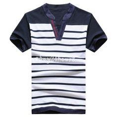 $17.99 Comy Breathable Cotton Short Sleeve V-neck Striped T-shirt for Men