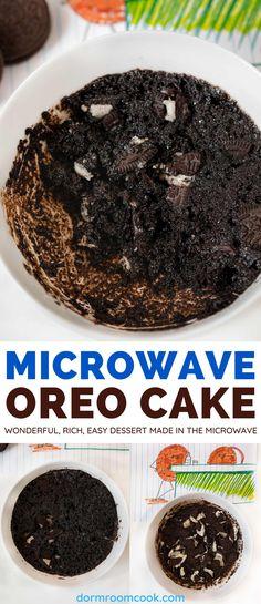 Wonderful, rich, easy dessert made in the microwave. #Microwave #Microwavecooking #College #Collegelife #Dormroomcook Oreo Cake Recipes, Cheesecake Recipes, Delicious Chocolate, Chocolate Recipes, Easy Microwave Recipes, Quick Recipes, Easy Desserts, Delicious Desserts, Vegetarian Cookies