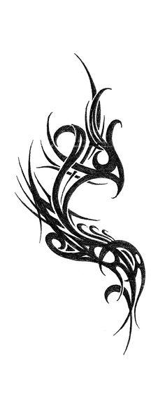 Unique Tribal Phoenix Tattoo Design