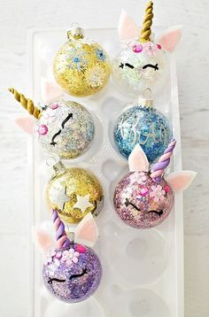 Make your own super cute kawaii tree decorations for Christmas DIY Glitter Unicorn Ornaments. Find out how to easily glitter ornaments and turn them into unicorns. Handmade Christmas Crafts, Handmade Ornaments, Diy Christmas Ornaments, Holiday Crafts, Christmas Decorations, Homemade Decorations, Tree Decorations, Unicorn Ornaments, Glitter Ornaments