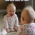 Baby looks into the mirror for the first time - Funny Picture