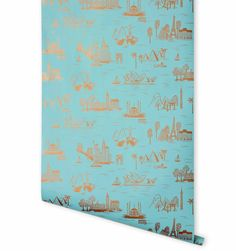 from Rifle Paper's new line of wallpaper. City Toile (Robin's Egg) Metallic Screen Printed