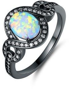 Peermont Black Rhodium Plated Fire Opal Oval Statement Ring.