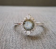 """Grey Moissanite and Diamond Engagement Ring Halo Bohemian Art Deco Indian Vintage Antique 14K White Gold Exclusive """"The Jasmine"""" by PenelliBelle on Etsy https://www.etsy.com/listing/572118995/grey-moissanite-and-diamond-engagement"""