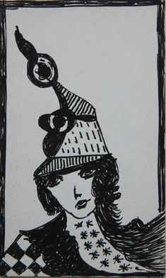 Madge Gill  Untitled, c. 1940  Ink on postcard