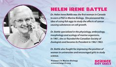 Helen Irene Battle was a pioneer in the field of Marine Biology. Cell Growth, Marine Biology, Physiology, Ecology, Irene, Battle, Cancer, Study, Science