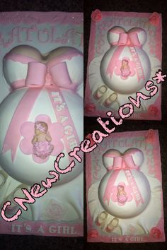 "Pregnant belly cake for a baby girl baby shower. Everything is handcrafted and edible. Check out the baby girl on top. It's all made by us Cnewcreations. Check us out on Facebook: ""Cakes by CNewCreations"""