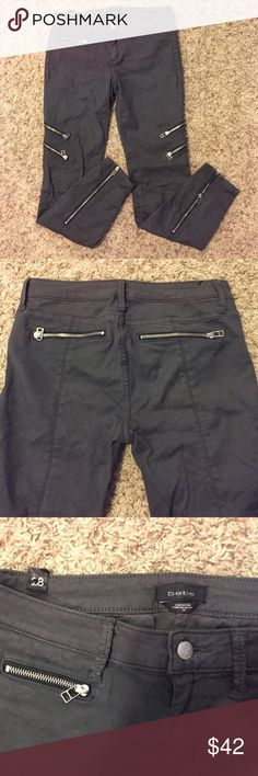 BEBE Gray Slate Zipper Moto Jeans Only worn once. Great condition. Tight flattering fit all the way to ankles. Back zipper pockets. bebe Pants Skinny