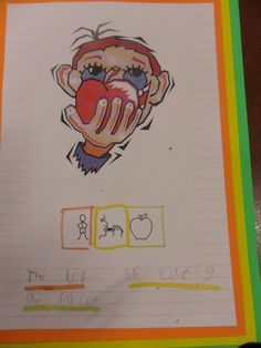 ' to the process. 'The Boy is eating a apple'. Primary Classroom, Primary School, Colourful Semantics, Attention Autism, Interactive Display, Sentence Structure, Sentence Writing, Group Work, Speech And Language