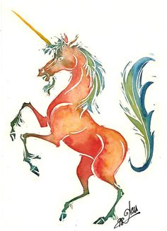 Orange Unicorn by ~acla13 on deviantART