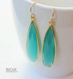 Aqua Blue Chalcedony Long Earrings - Bezel Set
