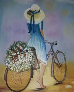 No photo description available. Bicycle Painting, Bicycle Art, Bicycle Design, Easy Paintings, Beautiful Paintings, Art And Illustration, Art Sketches, Creative Art, Watercolor Art