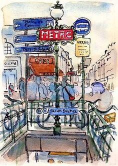 Metro Saint-Sulpice , original art , x Are you a Paris bus person? Paris Illustration, Watercolor Illustration, Illustrations, Metro Paris, Beautiful Paris, Artist Journal, Decoupage, Paris Art, Sketch Inspiration