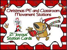 "Christmas PE and Classroom Movement Stations- 21 ""Joyous"""