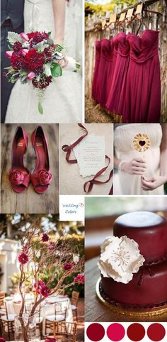 Cranberry and wine – warm, inviting and perfect for a late fall wedding; add a little crimson and ruby into the mix and you have a rich luxurious palette that pops with color. This inspiration board combines rustic, vintage and absolute elegance. I love how the addition of ivory enhances, but doesn't take away from the striking red hues.