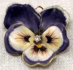 Antique Enamel Pansy Pin - antique jewelry from Perfect Jewels