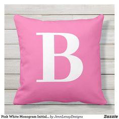 Pink White Monogram Initial Patio Outdoor Pillow Monogram Letters, Monogram Initials, Outdoor Throw Pillows, Bed Pillows, Home Reno, Minimal Design, Artwork Design, Favorite Color, Pink White