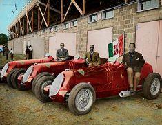 The Alfa Romeo team: Brivio, Nuvolari & Farina. Vintage Racing, Vintage Cars, Antique Cars, Alfa Romeo 8c, Alfa Romeo Cars, Classic Motors, Classic Cars, Ferrari, Alfa Alfa