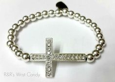Beaded Cross Bracelet by RandRsWristCandy on Etsy, $8.00