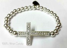Beaded Cross Bracelet by RandRsWristCandy on Etsy