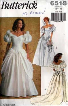 Butterick 6518 Womens Puff Sleeved Wedding Dress with Boned Bodice & Detachable Train 1990s Vintage Sewing Pattern Size 12 14 16 Bust 34 36 38 inches UNCUT Factory Folded