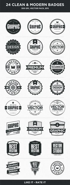 Buy 24 Clean and Modern Badges by Mousecow on GraphicRiver. 24 Clean and Modern Badges with a different style design and you can use it for any kind of your logo or another work. Web Design, Website Design, Vector Design, Logo Design, Webdesign Inspiration, Graphic Design Inspiration, Logo Montagne, Illustrator Design, Logo Rond