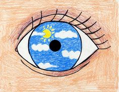 "An Eye for Magritte. Trace a CD and draw an eye filled with whatever you ""see"". Art Projects for Kids. #magritte"