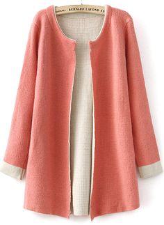 Cardigan en tricot mince manche longue -rose  22.62