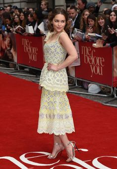 """Emilia Clarke wearing lemon dress with Eletskii lace from couture collection of Ulyana Sergeenko at the premiere of """"Me Before You""""."""