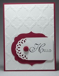 Delicate Doilies Sizzlit, Lacy & Lovely, Labels Collection framelit,  Modern Mosaic E F    The card itself is also Raspberry Ripple card stock with a Modern Mosaic emboss