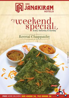 Tasty Keerai Chapathi makes the food lovers so tempting! Enjoy this #delicious #weekend‬_exclusive at #Srijanakiram_Hotels.  #srijanakiram #weekend #special #keerai_chapathi