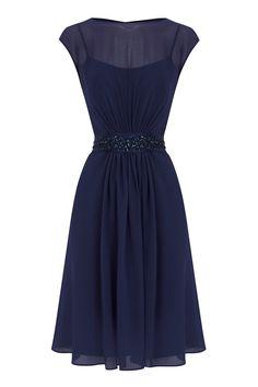 Navy Blue chiffon dress  COAST