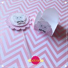 Scrap Festa Ovelhinha Rosa Topper cupcake e forminha de doce ovelhinha rosa