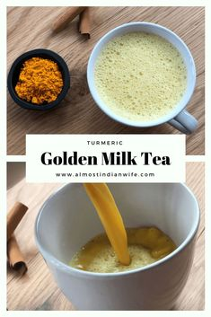 Turmeric Golden Milk Tea - The Almost Indian Wife Golden Milk Tea, Turmeric Golden Milk, Clean Eating Meal Plan, Clean Eating Recipes, Tumeric Milk Recipe, Indian Milk, Milk Tea Recipes, Turmeric Drink, Quick Snacks