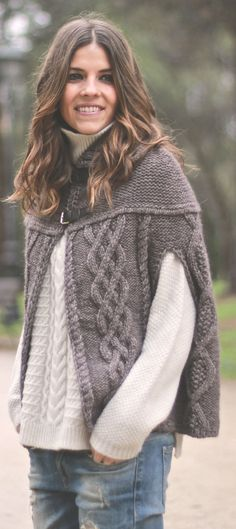 Taupe Cable Knit Cape Cardigan by TrendyTaste