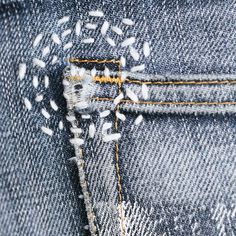 SASHIKODENIM by Pey Handstitched denim repair art Enjoy the art of imperfection (Respect the source) Sashiko Embroidery, Japanese Embroidery, Embroidery Stitches, Embroidery Patterns, Hand Embroidery, Sewing Hacks, Sewing Projects, Visible Mending, Denim Art
