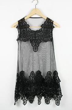 Black Lace Tank Embroidery Dress $40.00  - daughter would love this, from sheinside.com