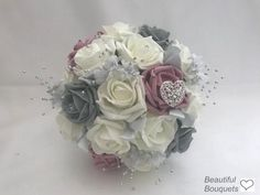Beach Wedding Headpieces, Headpiece Wedding, Grey Flowers, Silver Flowers, Bridesmaid Headband, Artificial Wedding Bouquets, Foam Roses, Flower Spray, Star Wedding