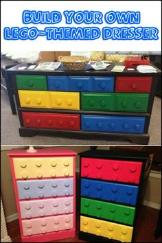 Add an awesome storage unit in your kids room by making a Lego-themed dresser! Is this going to be your next project for the kids? furniture Build your own unique Lego themed dresser! Plywood Furniture, Diy Kids Furniture, Furniture Logo, Retro Furniture, Refurbished Furniture, Repurposed Furniture, Minecraft Furniture, Ikea Furniture, Bedroom Furniture