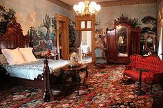 Adelicia's Hayes' bedroom at the Belmont Mansion in Tennessee, complete with Parisian wallpaper depicting Fenelon's Telemachus as he searches for his father Odysseus. Victorian Bedroom, Victorian Interiors, Victorian Furniture, Victorian Decor, Victorian Homes, Victorian Cottage, Unique Furniture, Belmont Mansion, Castle Bedroom