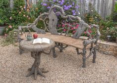 Concrete Faux Bois Outdoor Garden Furniture by Diane Husson