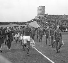 Giacinto Facchetti, leading Italy out against East Germany at the Walter Ulbricht-Stadion, 1969.