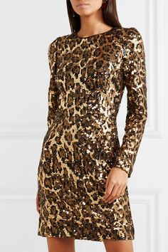 b030dfd306 Dolce   Gabbana - Leopard-print sequinned crepe mini dress