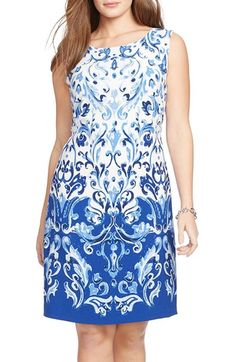 Lauren Ralph Lauren Print Sleeveless Sheath Dress (Plus Size)