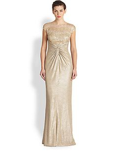 @Robin Anderson David Meister Sequin Lace & Metallic Crepe Gown