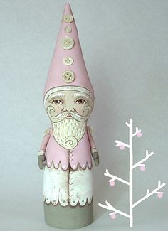 Pink Santa - Folk Art Doll handmade hand painted acrylic and quilter's muslin #Cart_Before_The_Horse