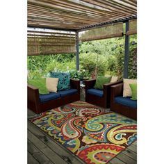Carolina Weavers Indoor/Outdoor Santa Barbara Collection Floral Rainbow Multi Area Rug (5'2 x 7'6)