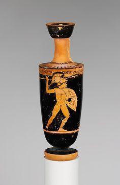 Terracotta lekythos (oil flask)  Period: Classical Date: 2nd quarter of 5th century B.C. Culture: Greek, Attic